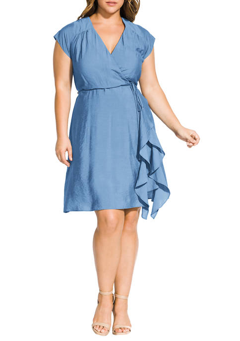 City Chic Plus Size Satin Ruffle Dress