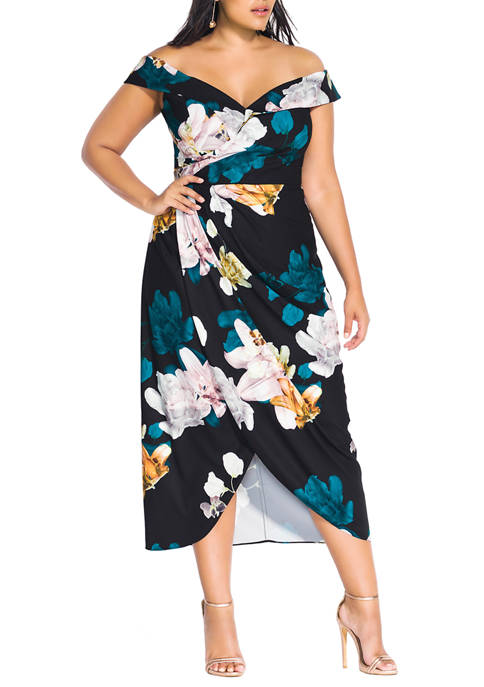 City Chic Plus Size Maxi Floral Glow Dress