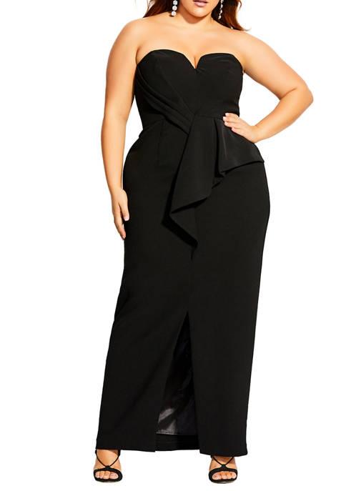Plus Size Sleek Split Maxi Dress