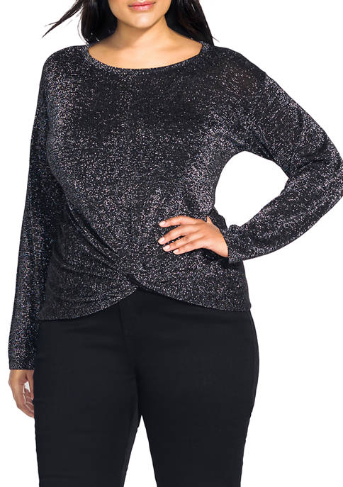 City Chic Plus Size Metallic Knot Jumper