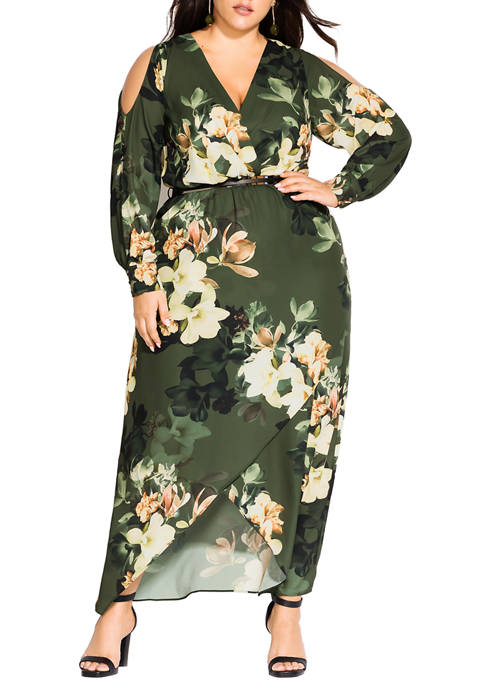 City Chic Plus Size Green Jasmine Maxi Dress