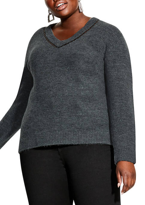 City Chic Plus Size Eyelet Detail Jumper