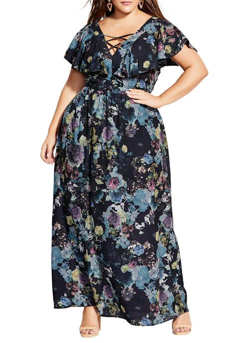 Plus Size Shadow Floral Maxi Dress
