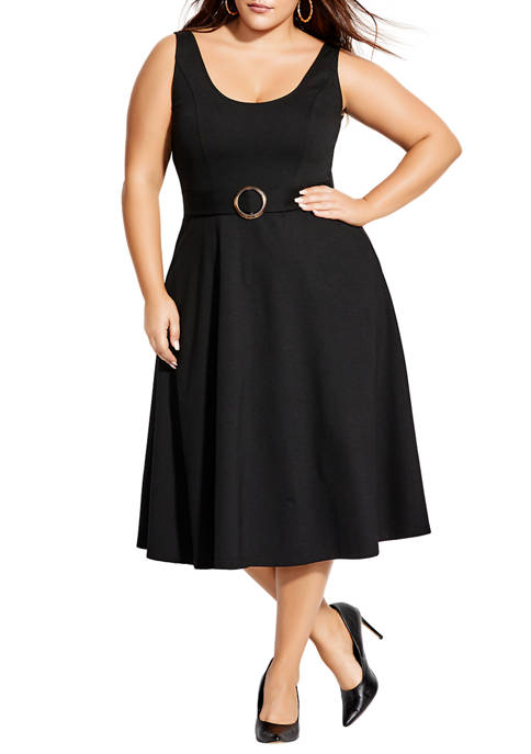 City Chic Plus Size Cute Belted Dress