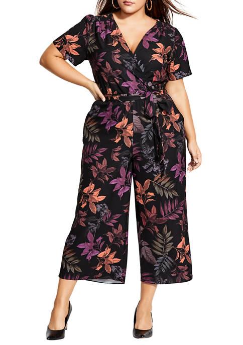 City Chic Plus Size Leaf Play Jumpsuit