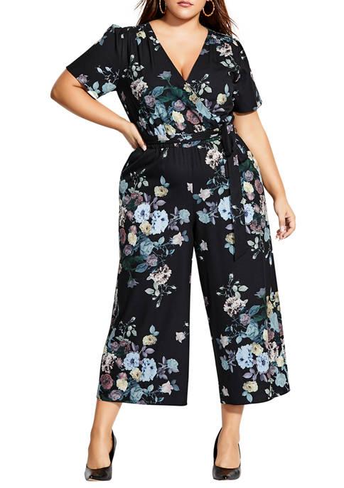 City Chic Plus Size Dark Blooms Jumpsuit