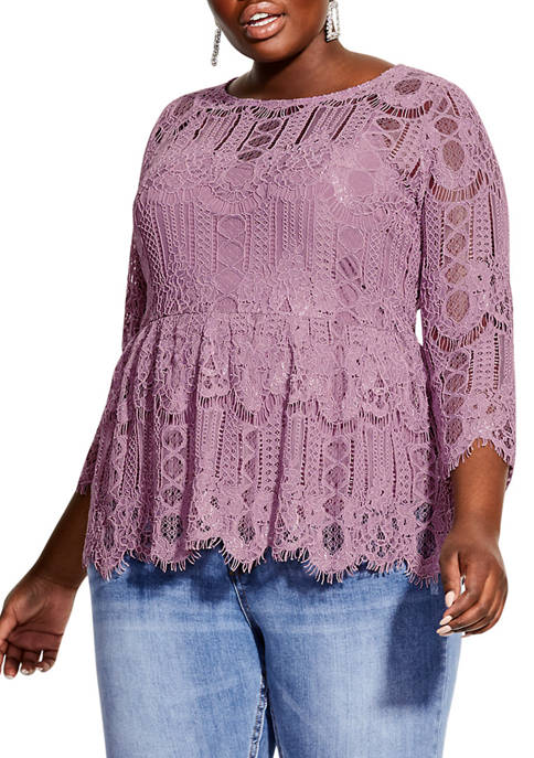 City Chic Plus Size Everything Lace Top