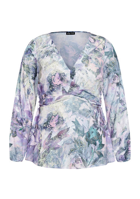 City Chic Plus Size Crystal Floral Top