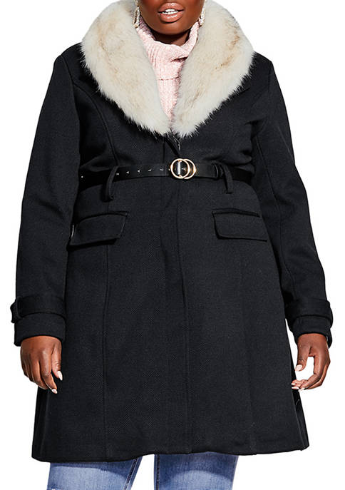 City Chic Plus Size Simply Belted Coat