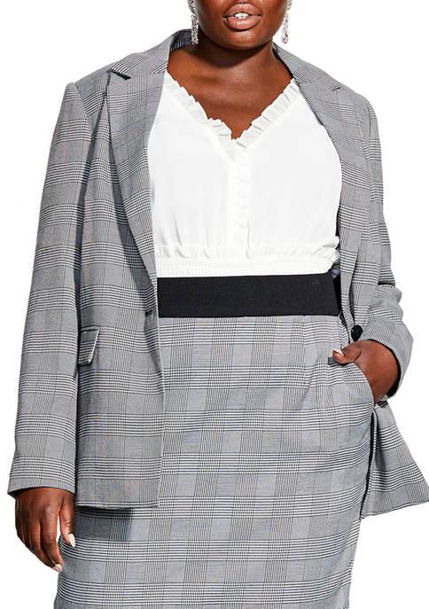 City Chic Plus Size Glen Plaid Jacket