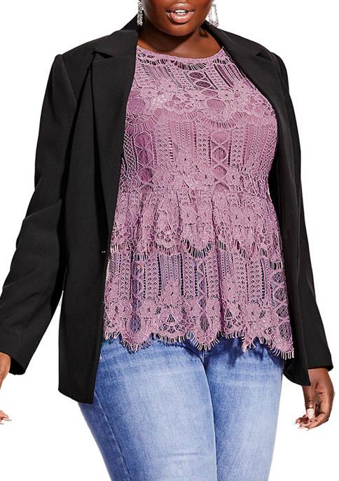 City Chic Plus Size Longline Button Jacket