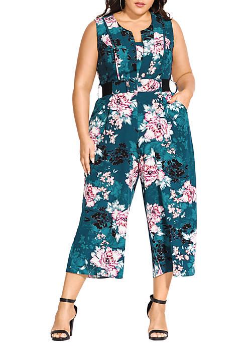 Plus Size Jade Blossom Jumpsuit
