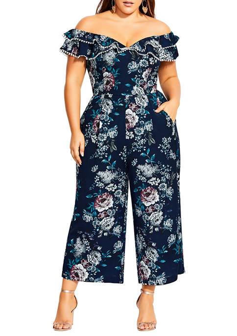 City Chic Plus Size Mystery Floral Jumpsuit