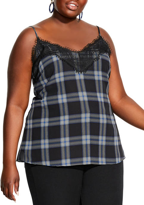 City Chic Plus Size Checked Lace Camisole Top