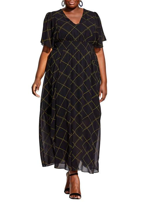 Plus Size Scratch Check Maxi Dress