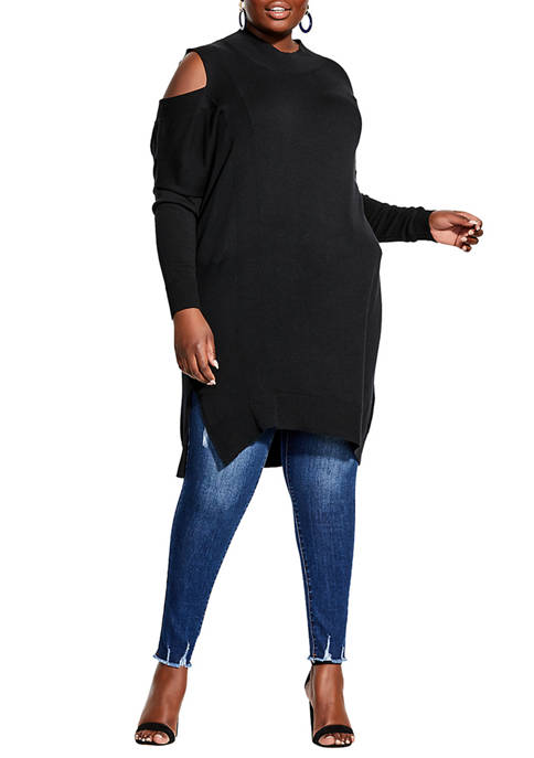 City Chic Plus Size Shoulder Peek Jumper