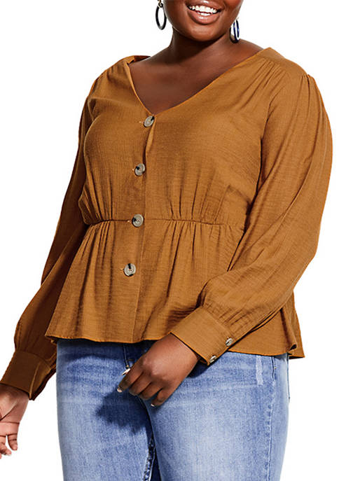 City Chic Plus Size Button Appeal Top