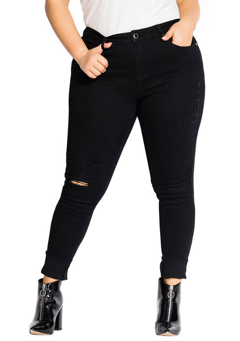 City Chic Plus Size Soft Rock Skinny Jeans