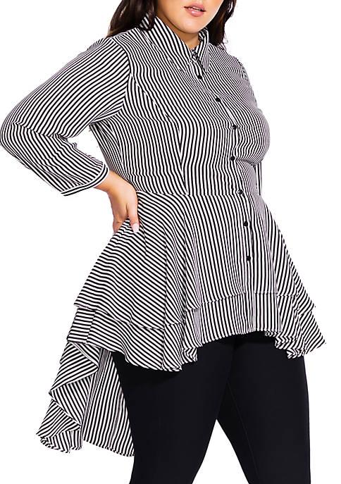 City Chic Plus Size Stripe Flutter Woven Shirt