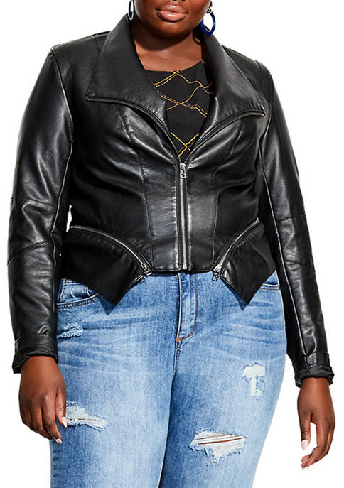 Plus Size Polyurethane Zip Detail Jacket