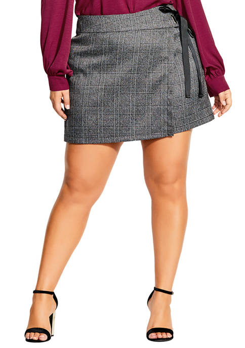 City Chic Plus Size Check Tie Skort