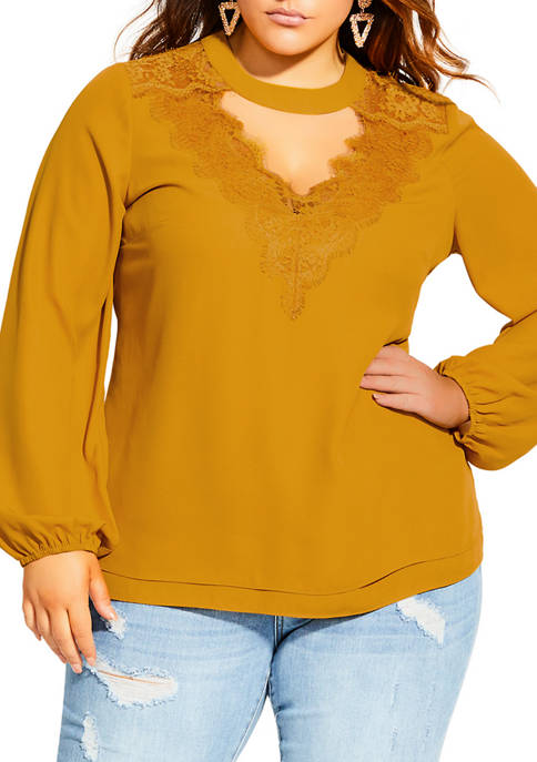 City Chic Plus Size Embrace Lace Top