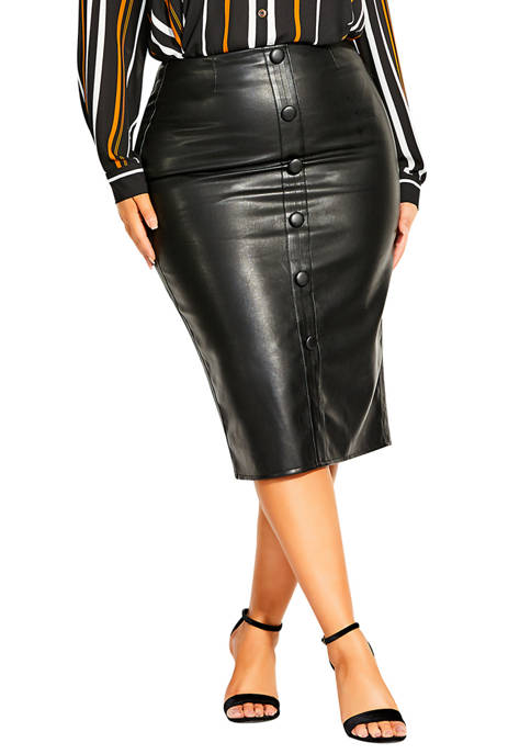 City Chic Plus Size Button Polyurethane Skirt