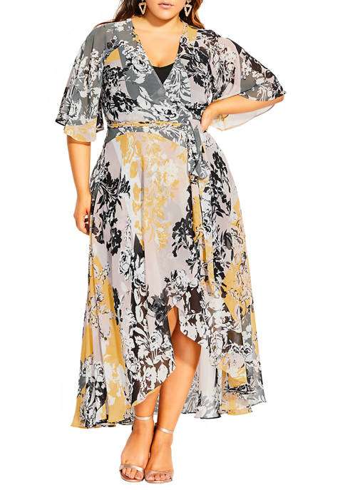 City Chic Plus Size Golden Mosaic Maxi Dress