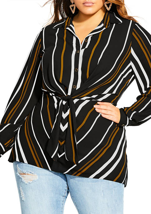 City Chic Plus Size Golden Stripe Tunic Top