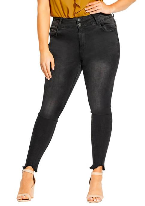 Plus Size Slash Ankle Skinny Jeans