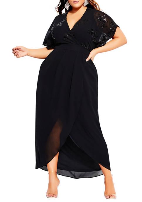 Plus Size Sequin Glitz Maxi Dress