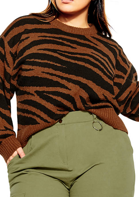 City Chic Plus Size Sassy Tiger Jumper