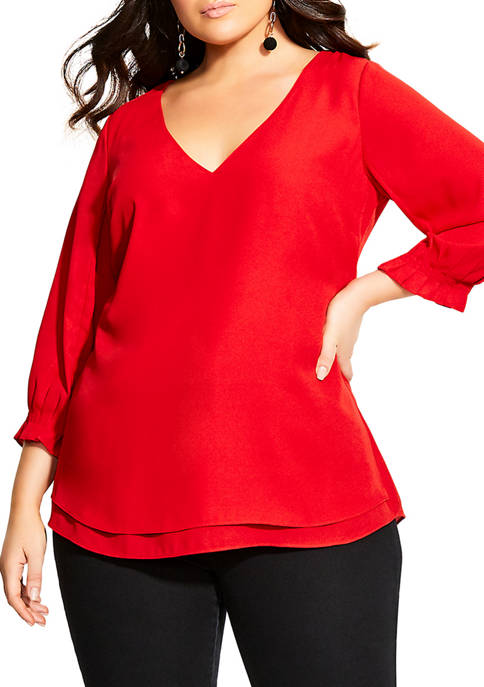 Plus Size Pleated Sleeve Top
