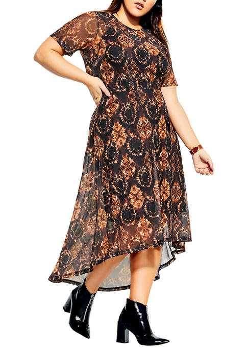 City Chic Plus Size Animal Dye Dress