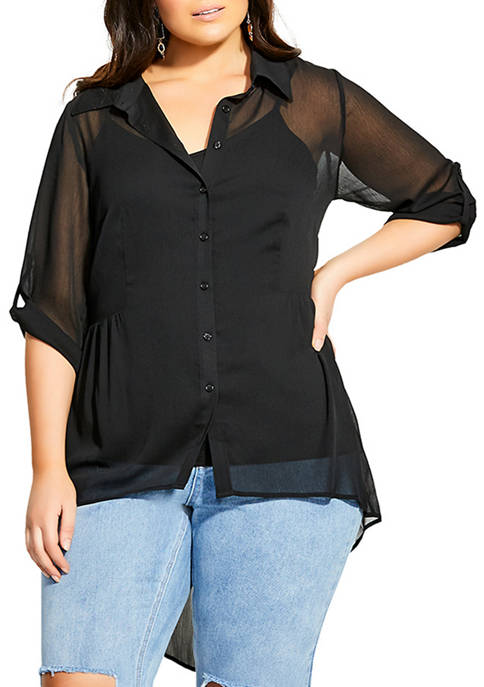 City Chic Plus Size High Low Feels Shirt