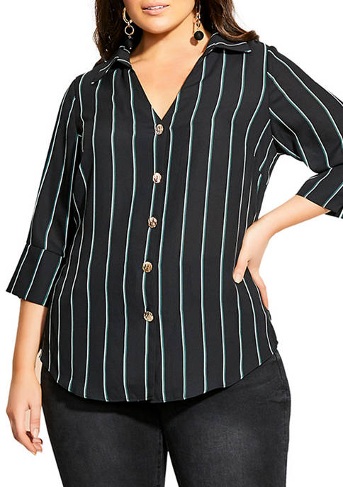 City Chic Plus Size Pine Stripe Top