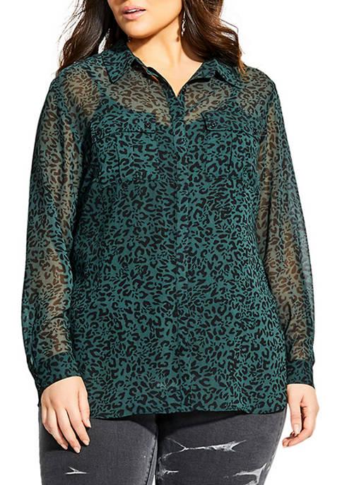 Plus Size Pine Leopard Shirt