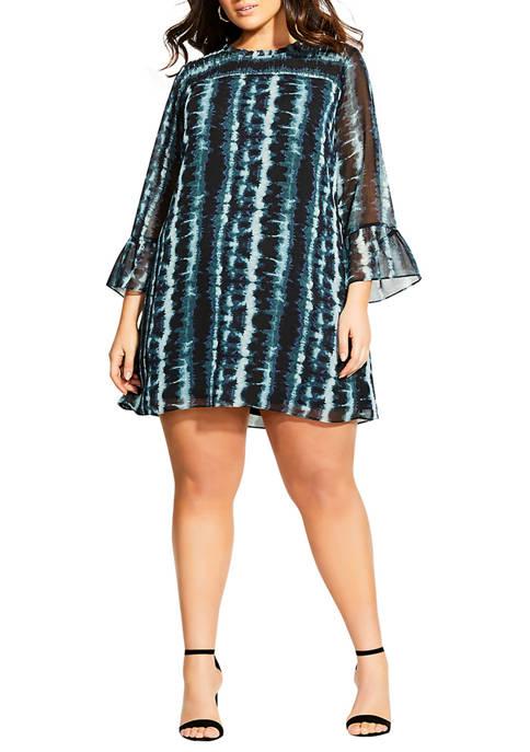 Plus Size Stripe Tie Dye Dress