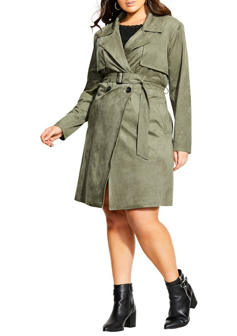 Plus Size Suede Appeal Trench Coat