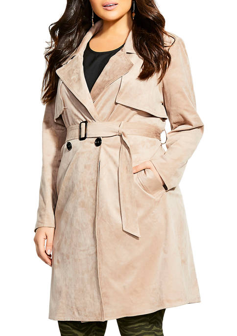 City Chic Plus Size Suede Appeal Trench Coat