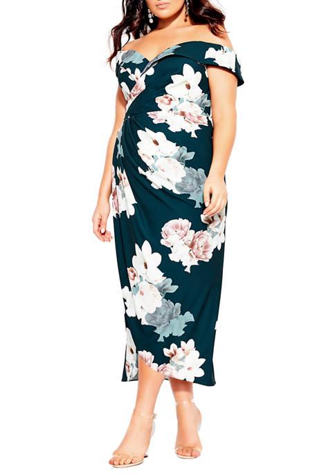 Plus Size Maxi Emerald Floral Dress