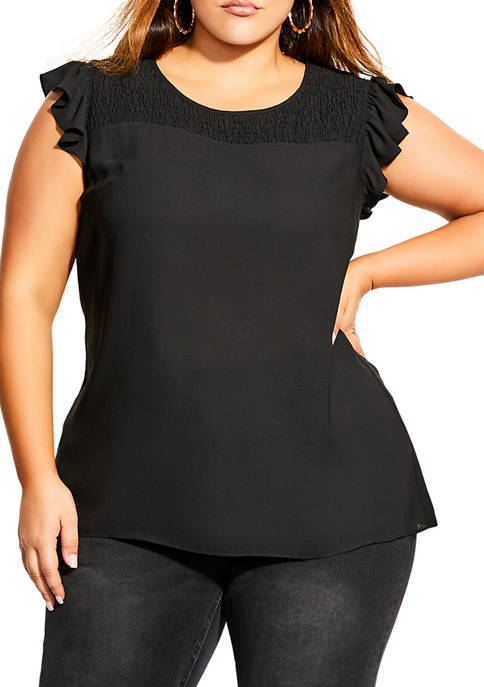 Plus Size Shirred Flirt Top
