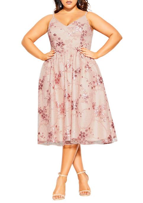 Plus Size Sequin Flower Dress