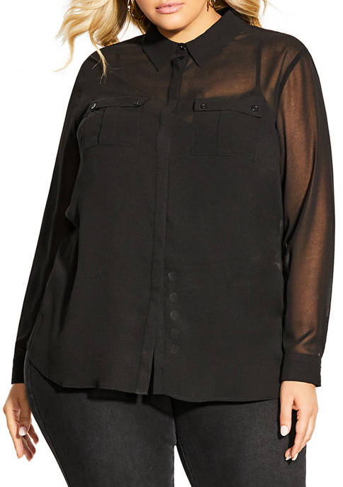 City Chic Plus Size Sheer Desire Shirt