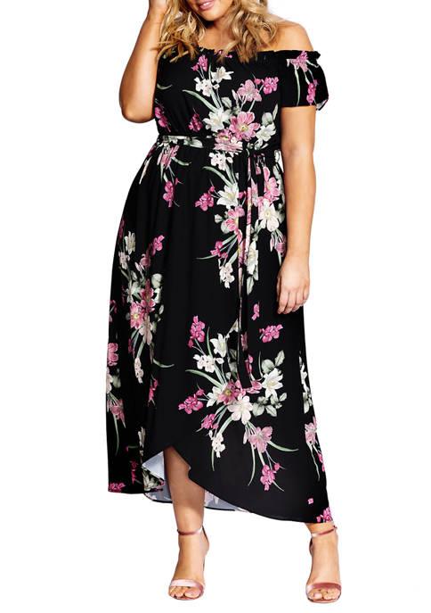 Plus Size Lady Floral Maxi