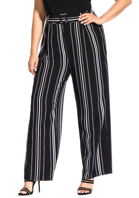 City Chic Plus Size Belted Palazzo Pants