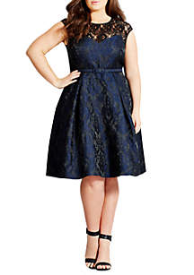 City Chic Plus Size Ornate Brocade Fit and Flare Dress