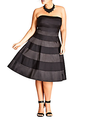 Plus Size Miss Shady Black Fit and Flare Dress