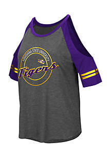 Short Sleeve LSU Mae Cold Shoulder Tee