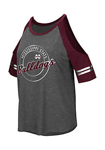 Mississippi State Bulldogs Mae Short Cold Shoulder Sleeve Tee